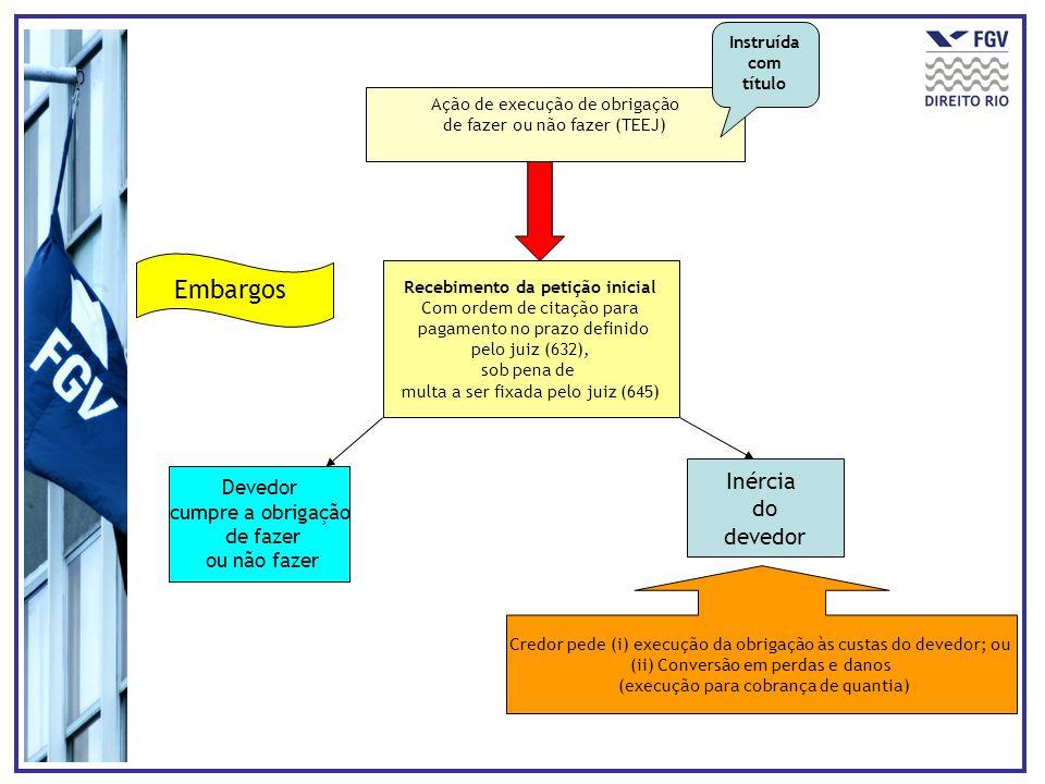 Ação de execução de obrigação de fazer ou não fazer (TEEJ) Recebimento da petição inicial Com ordem de citação para pagamento no prazo definido pelo j
