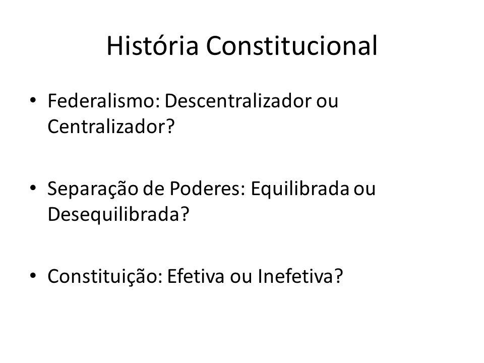 História Constitucional Federalismo: Descentralizador ou Centralizador? Separação de Poderes: Equilibrada ou Desequilibrada? Constituição: Efetiva ou