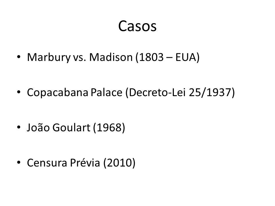 Casos Marbury vs. Madison (1803 – EUA) Copacabana Palace (Decreto-Lei 25/1937) João Goulart (1968) Censura Prévia (2010)