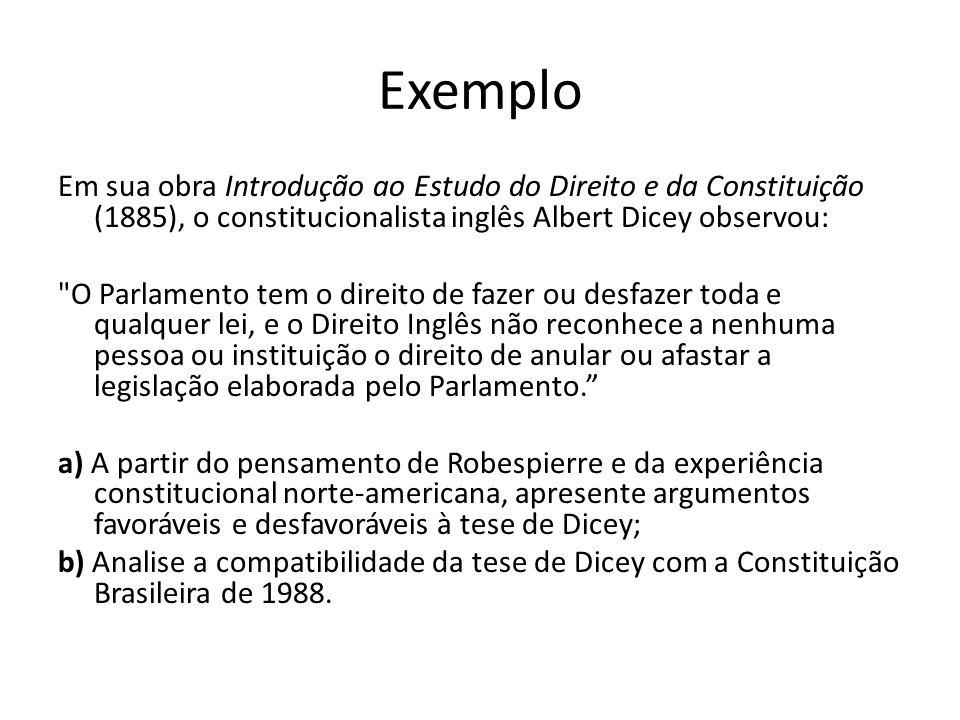 Exemplo Em sua obra Introdução ao Estudo do Direito e da Constituição (1885), o constitucionalista inglês Albert Dicey observou: