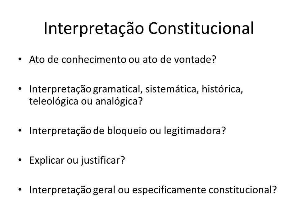 Interpretação Constitucional Ato de conhecimento ou ato de vontade? Interpretação gramatical, sistemática, histórica, teleológica ou analógica? Interp