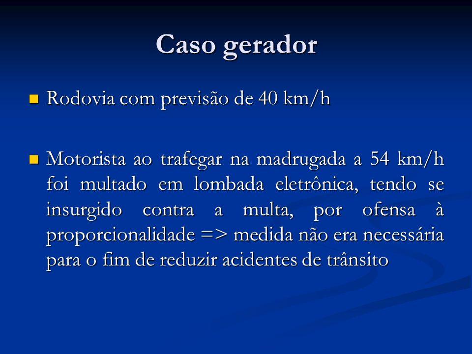 Caso gerador Rodovia com previsão de 40 km/h Rodovia com previsão de 40 km/h Motorista ao trafegar na madrugada a 54 km/h foi multado em lombada eletr