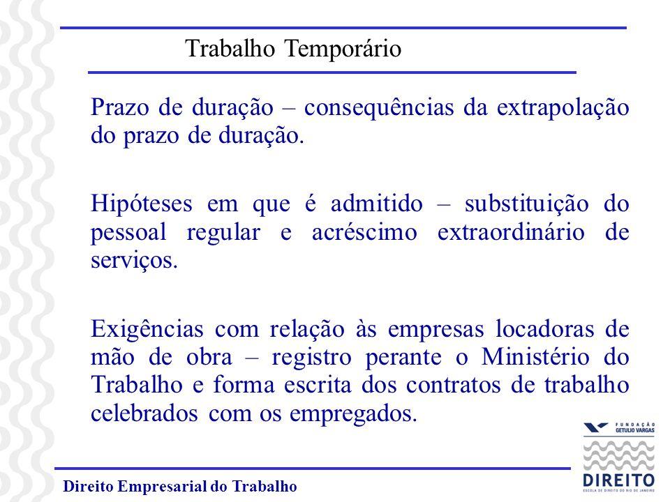 Direito Empresarial do Trabalho Trabalho Temporário Prazo de duração – consequências da extrapolação do prazo de duração. Hipóteses em que é admitido