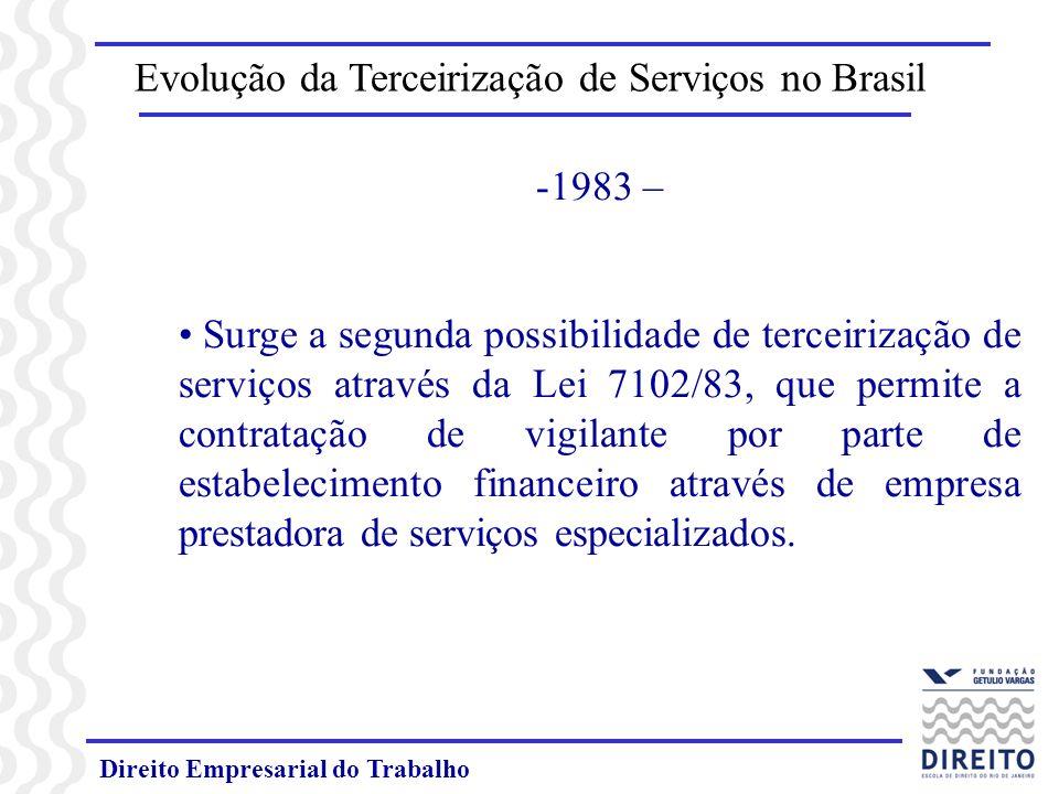 Direito Empresarial do Trabalho -1983 – Surge a segunda possibilidade de terceirização de serviços através da Lei 7102/83, que permite a contratação d