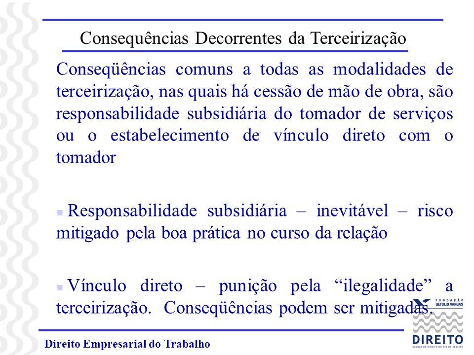 Direito Empresarial do Trabalho Consequências Decorrentes da Terceirização Conseqüências comuns a todas as modalidades de terceirização, nas quais há