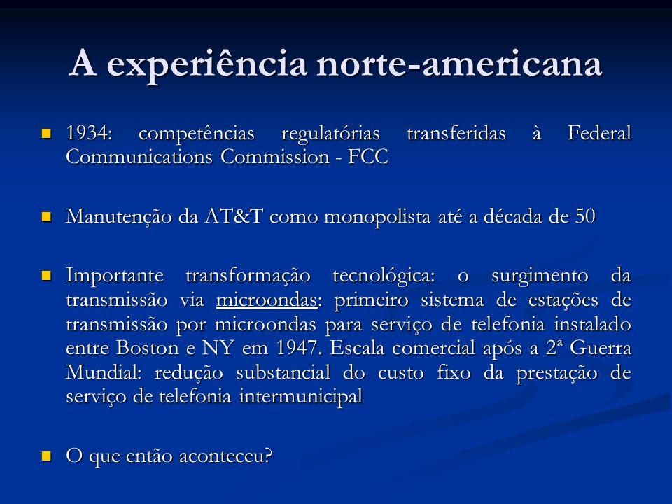 Histórico - Brasil Código Brasileiro de Telecomunicações (Lei 4117/62) Código Brasileiro de Telecomunicações (Lei 4117/62) - serviço de longa distância é de competência da União - serviço de longa distância é de competência da União - cria o Conselho Nacional de Telecomunicações para realizar a regulação técnica do setor e fixar tarifas => concessões estaduais e municipais devem respeitar normas do CONTEL - autoriza a criação da EMBRATEL para operar longa distância - cria sobretaxa de 30% sobre os serviços para financiar o Fundo Nacional de Telecomunicações (FNT)