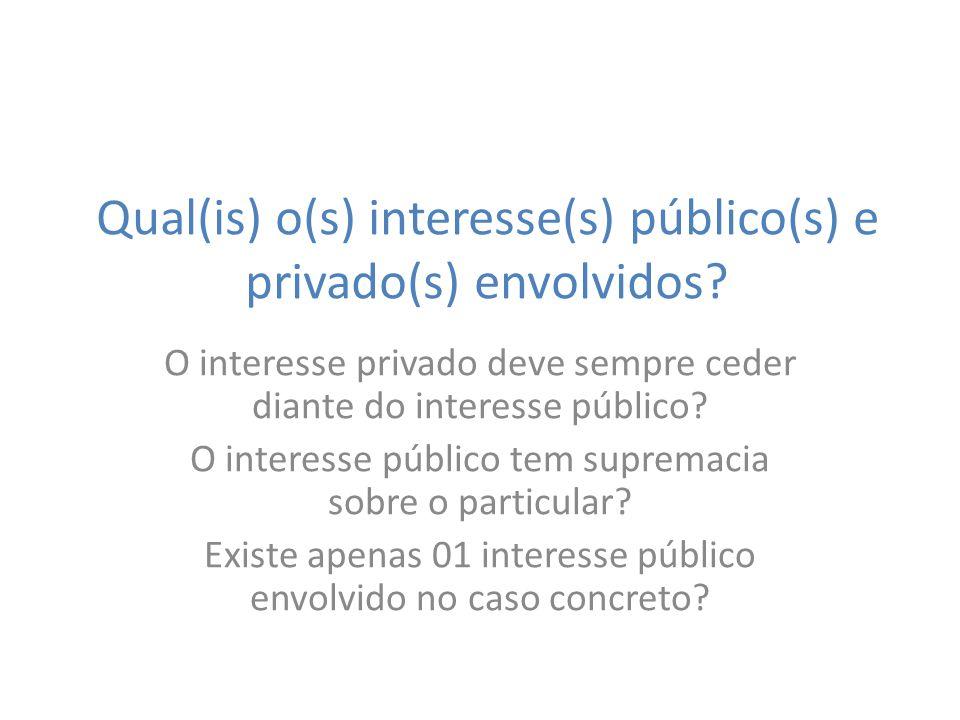 Qual(is) o(s) interesse(s) público(s) e privado(s) envolvidos? O interesse privado deve sempre ceder diante do interesse público? O interesse público
