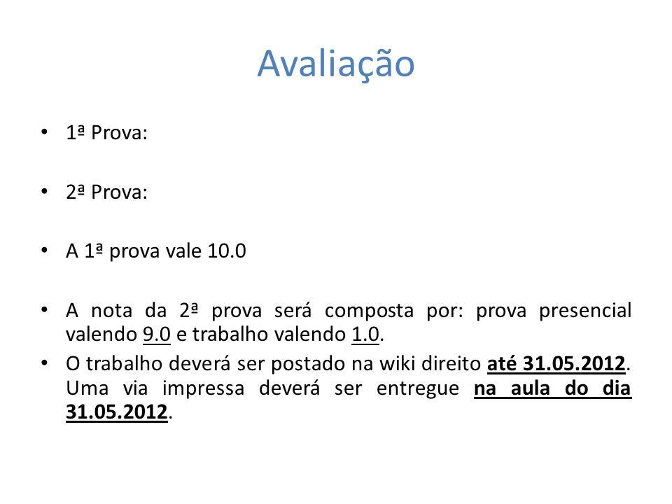 Avaliação 1ª Prova: 2ª Prova: A 1ª prova vale 10.0 A nota da 2ª prova será composta por: prova presencial valendo 9.0 e trabalho valendo 1.0. O trabal