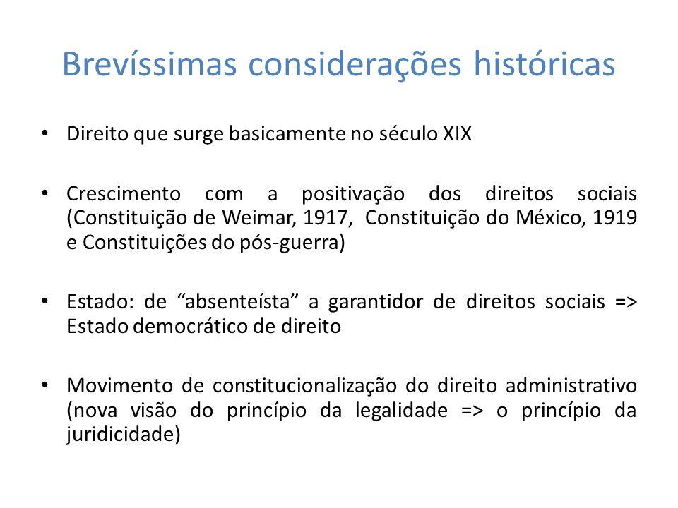 Brevíssimas considerações históricas Direito que surge basicamente no século XIX Crescimento com a positivação dos direitos sociais (Constituição de W