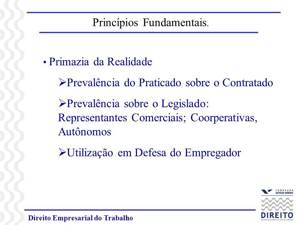 Direito Empresarial do Trabalho Princípios Fundamentais. Primazia da Realidade Prevalência do Praticado sobre o Contratado Prevalência sobre o Legisla