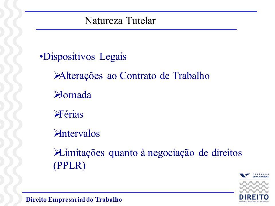 Direito Empresarial do Trabalho Natureza Tutelar Dispositivos Legais Alterações ao Contrato de Trabalho Jornada Férias Intervalos Limitações quanto à