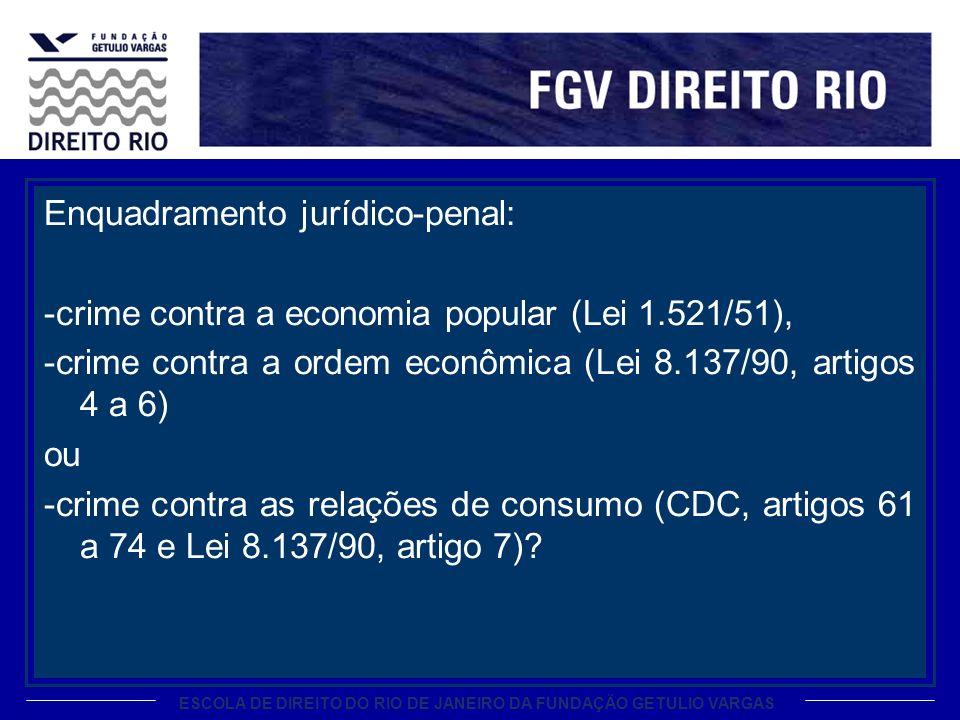ESCOLA DE DIREITO DO RIO DE JANEIRO DA FUNDAÇÃO GETULIO VARGAS Enquadramento jurídico-penal: -crime contra a economia popular (Lei 1.521/51), -crime contra a ordem econômica (Lei 8.137/90, artigos 4 a 6) ou -crime contra as relações de consumo (CDC, artigos 61 a 74 e Lei 8.137/90, artigo 7)