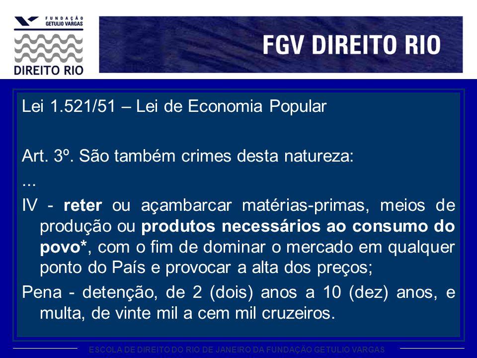 ESCOLA DE DIREITO DO RIO DE JANEIRO DA FUNDAÇÃO GETULIO VARGAS Lei 1.521/51 – Lei de Economia Popular Art.