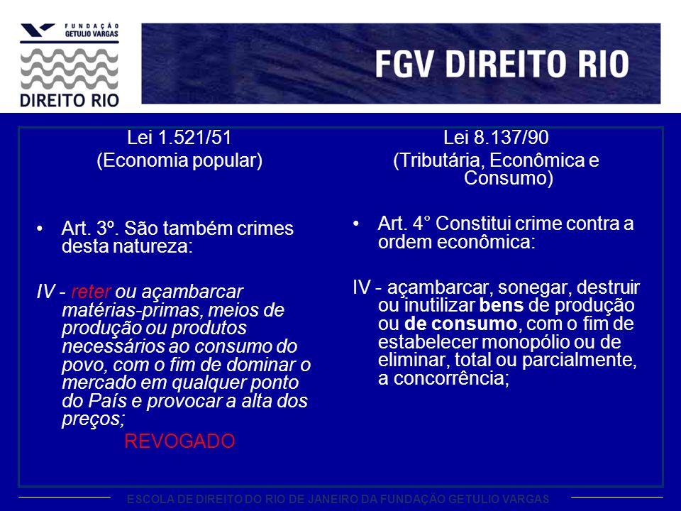 ESCOLA DE DIREITO DO RIO DE JANEIRO DA FUNDAÇÃO GETULIO VARGAS Lei 1.521/51 (Economia popular) Art.