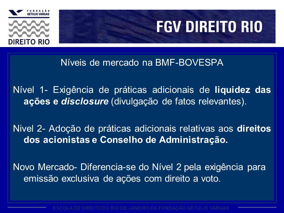 ESCOLA DE DIREITO DO RIO DE JANEIRO DA FUNDAÇÃO GETULIO VARGAS Níveis de mercado na BMF-BOVESPA Nível 1- Exigência de práticas adicionais de liquidez das ações e disclosure (divulgação de fatos relevantes).