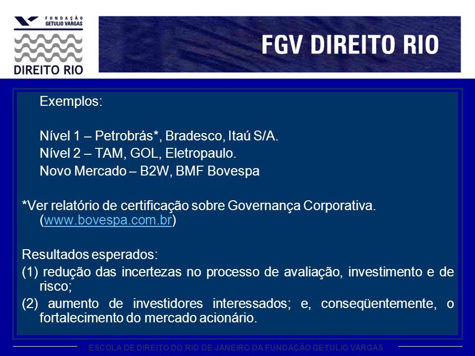 ESCOLA DE DIREITO DO RIO DE JANEIRO DA FUNDAÇÃO GETULIO VARGAS Exemplos: Nível 1 – Petrobrás*, Bradesco, Itaú S/A.