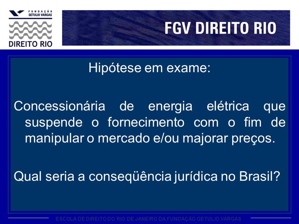 ESCOLA DE DIREITO DO RIO DE JANEIRO DA FUNDAÇÃO GETULIO VARGAS Hipótese em exame: Concessionária de energia elétrica que suspende o fornecimento com o fim de manipular o mercado e/ou majorar preços.