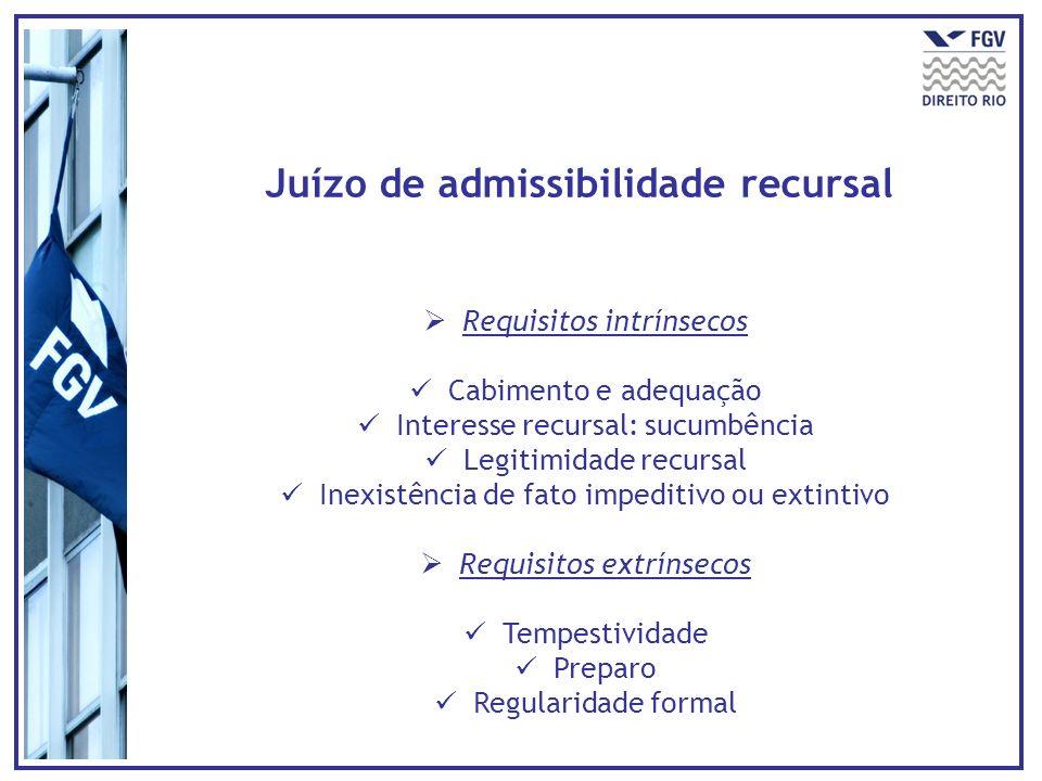 Juízo de admissibilidade recursal Requisitos intrínsecos Cabimento e adequação Interesse recursal: sucumbência Legitimidade recursal Inexistência de f