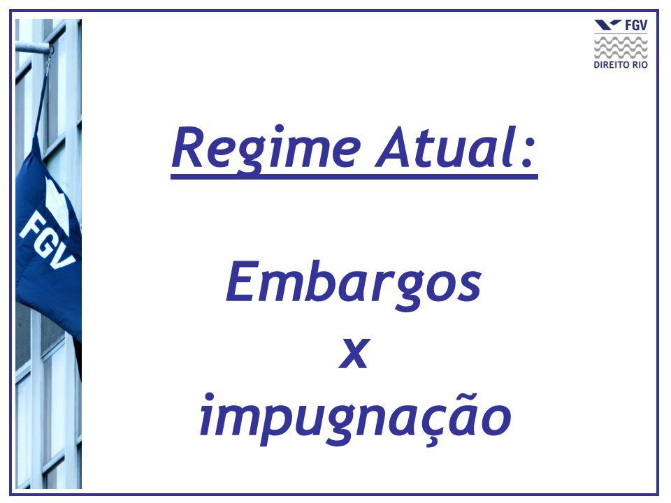 Natureza do título Instrumento adequadoNatureza Execução fundada em título extrajudicial + judicial (Fazenda Pública/alimentos) Embargos do executado (arts.