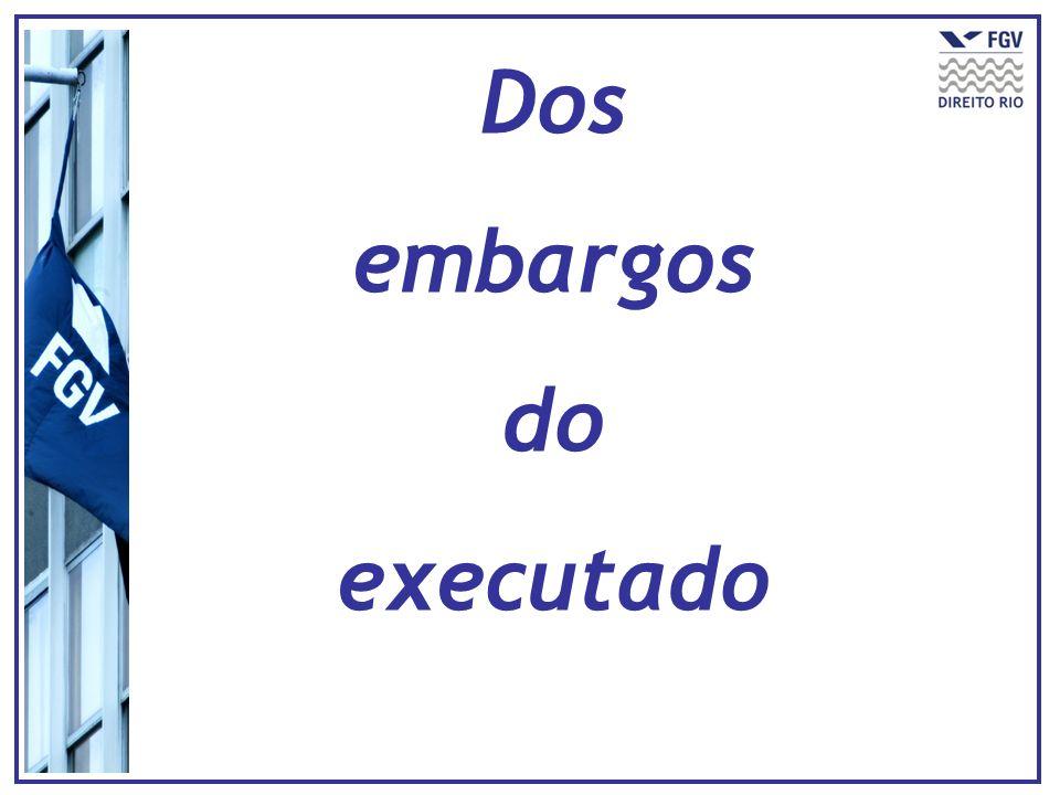 Execução de título extrajudicial Casos restritos - (745, CPC) REGRA: Sem efeito Suspensivo (739-A, CPC) (ALTERAÇÃO) Com efeito Suspensivo (739-A, § 1º, CPC) ALTERAÇÃO: Dispensa garantia do juízo Caso haja garantia do juízo EMBARGOS 15 dias Procedência ou improcedência OITIVA – 15 dias Julgamento antecipado ou ACIJ Rejeição liminar : (739, CPC) -Intempestividade (I) -Inépcia inicial (II) - Intuito protelatório (III) (+ multa, 601; 740, p.