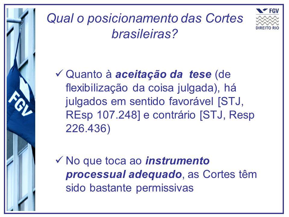 Qual o posicionamento das Cortes brasileiras? Quanto à aceitação da tese (de flexibilização da coisa julgada), há julgados em sentido favorável [STJ,