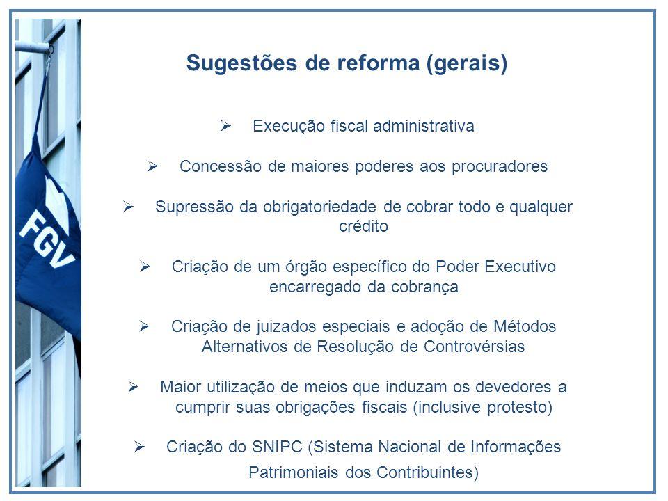 Sugestões de reforma (gerais) Execução fiscal administrativa Concessão de maiores poderes aos procuradores Supressão da obrigatoriedade de cobrar todo