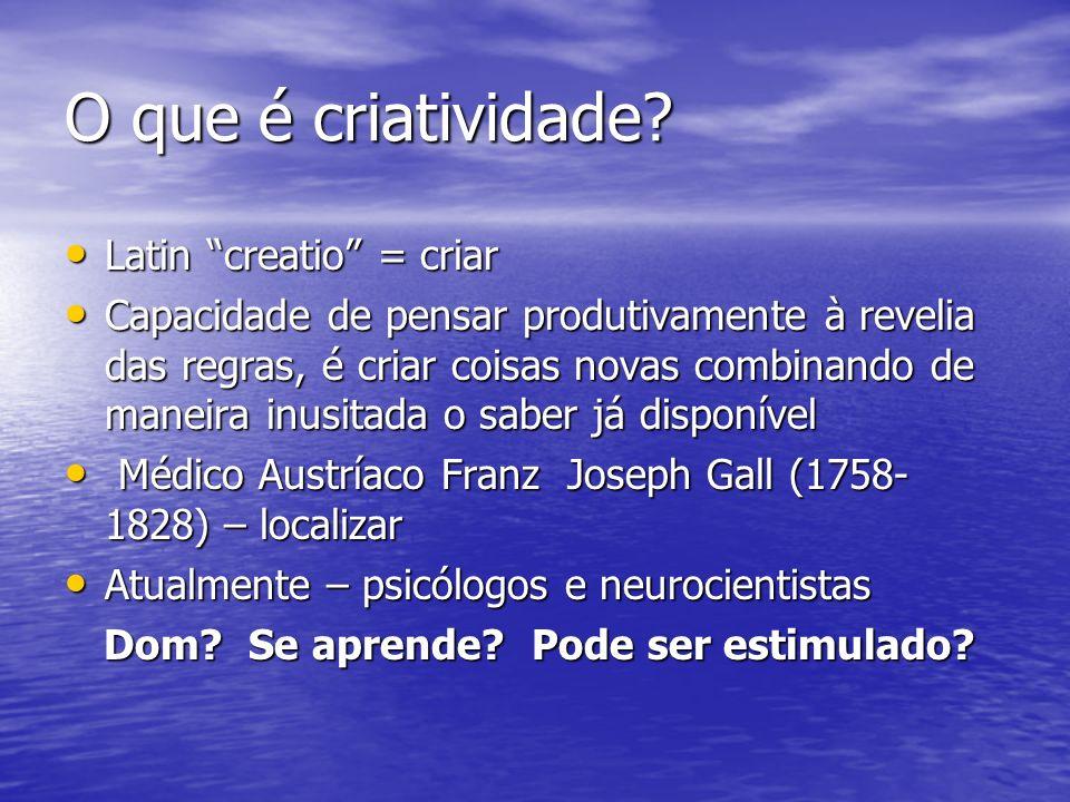 O que é criatividade? Latin creatio = criar Latin creatio = criar Capacidade de pensar produtivamente à revelia das regras, é criar coisas novas combi