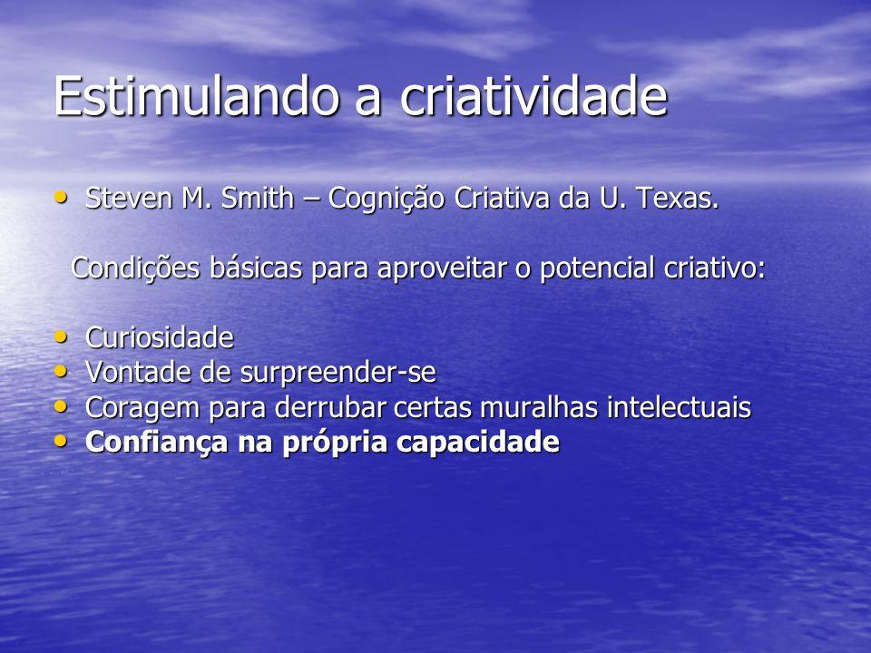 Estimulando a criatividade Steven M. Smith – Cognição Criativa da U. Texas. Steven M. Smith – Cognição Criativa da U. Texas. Condições básicas para ap