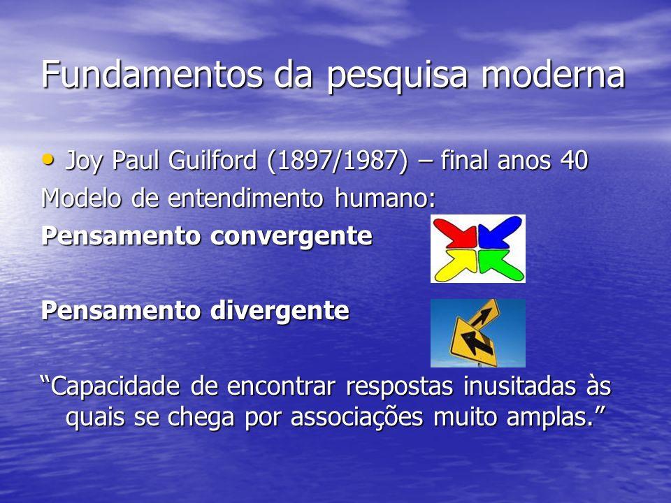 Fundamentos da pesquisa moderna Joy Paul Guilford (1897/1987) – final anos 40 Joy Paul Guilford (1897/1987) – final anos 40 Modelo de entendimento hum