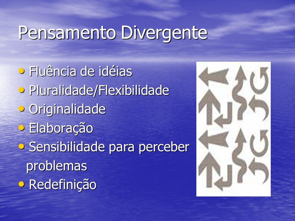 Pensamento Divergente Fluência de idéias Fluência de idéias Pluralidade/Flexibilidade Pluralidade/Flexibilidade Originalidade Originalidade Elaboração