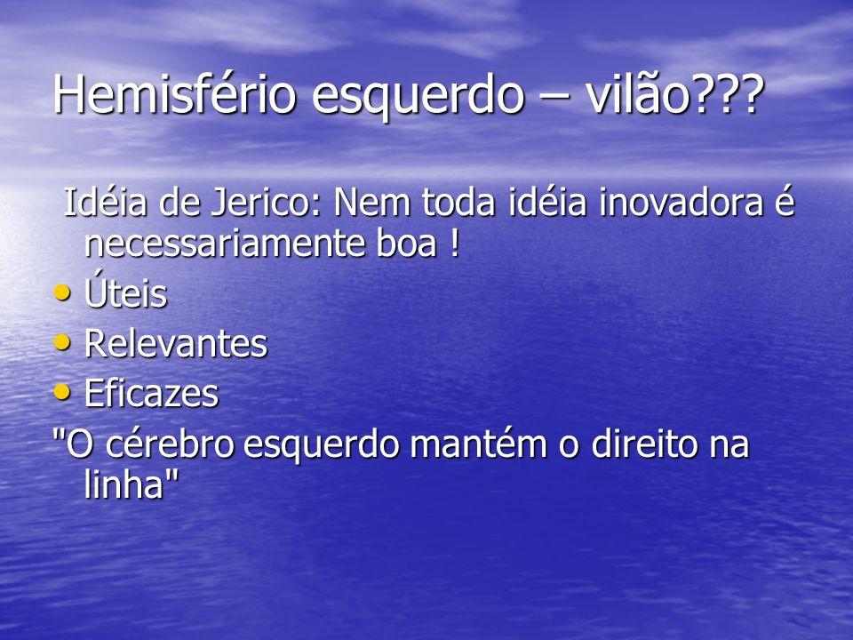 Hemisfério esquerdo – vilão??? Idéia de Jerico: Nem toda idéia inovadora é necessariamente boa ! Idéia de Jerico: Nem toda idéia inovadora é necessari