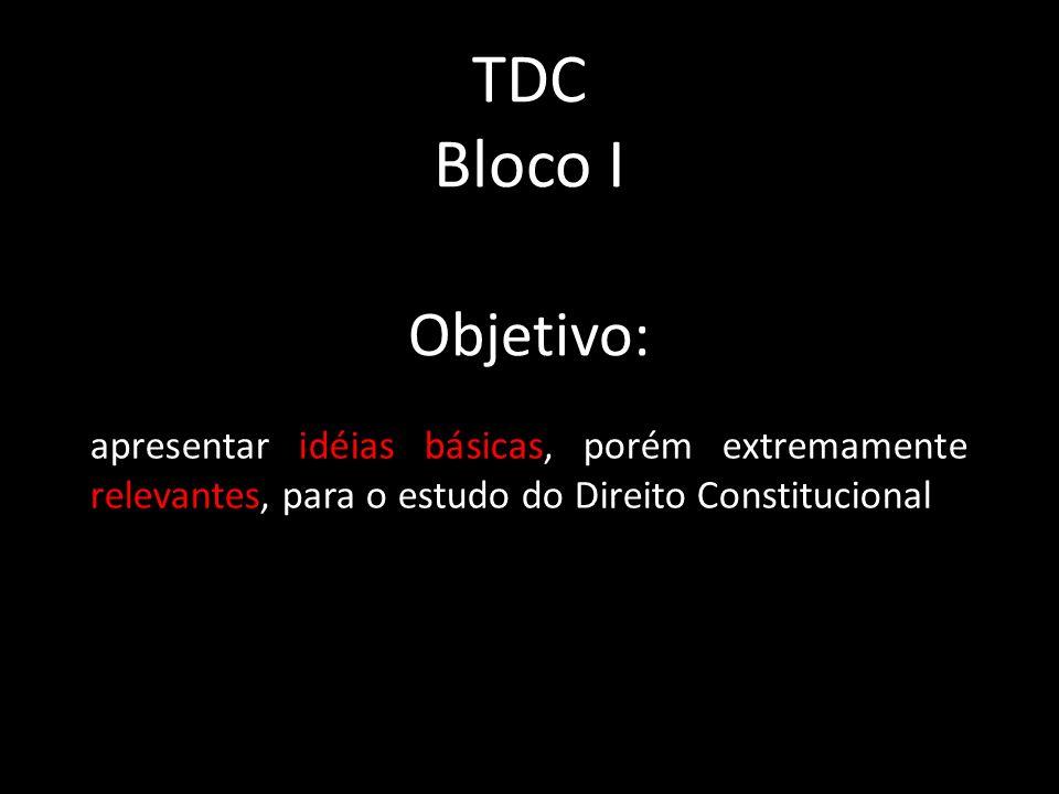 TDC Bloco I Objetivo: apresentar idéias básicas, porém extremamente relevantes, para o estudo do Direito Constitucional