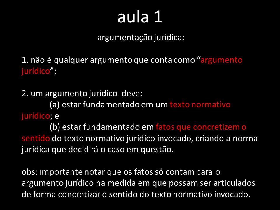 aula 1 argumentação jurídica: 1. não é qualquer argumento que conta como argumento jurídico; 2. um argumento jurídico deve: (a) estar fundamentado em