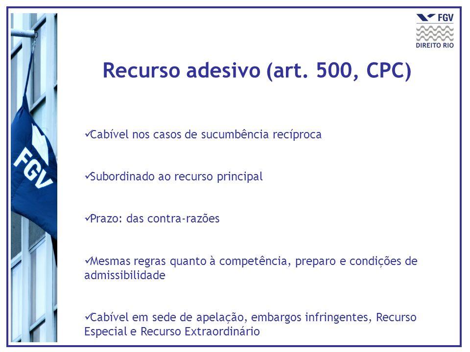 Recurso adesivo (art. 500, CPC) Cabível nos casos de sucumbência recíproca Subordinado ao recurso principal Prazo: das contra-razões Mesmas regras qua