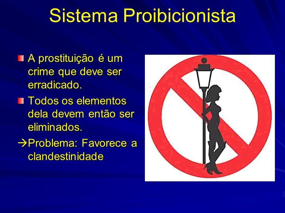 Sistema Proibicionista A prostituição é um crime que deve ser erradicado. Todos os elementos dela devem então ser eliminados. Problema: Favorece a cla