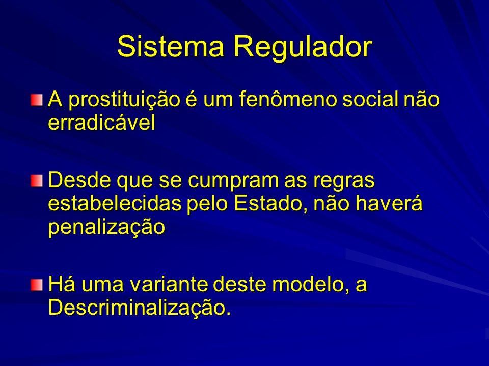 Sistema Regulador A prostituição é um fenômeno social não erradicável Desde que se cumpram as regras estabelecidas pelo Estado, não haverá penalização