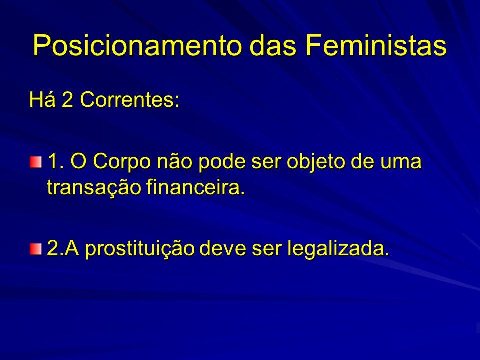 Posicionamento das Feministas Há 2 Correntes: 1. O Corpo não pode ser objeto de uma transação financeira. 2.A prostituição deve ser legalizada.