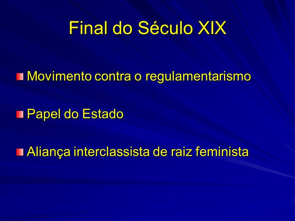 Final do Século XIX Movimento contra o regulamentarismo Papel do Estado Aliança interclassista de raiz feminista