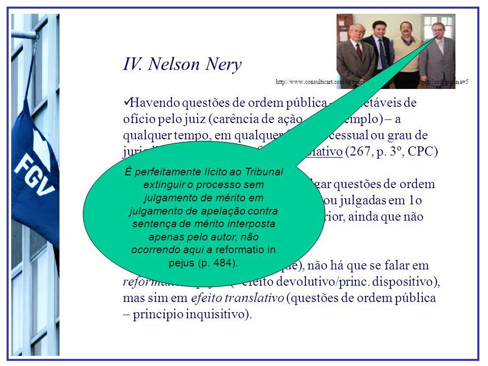 IV. Nelson Nery Havendo questões de ordem pública – decretáveis de ofício pelo juiz (carência de ação, por exemplo) – a qualquer tempo, em qualquer fa