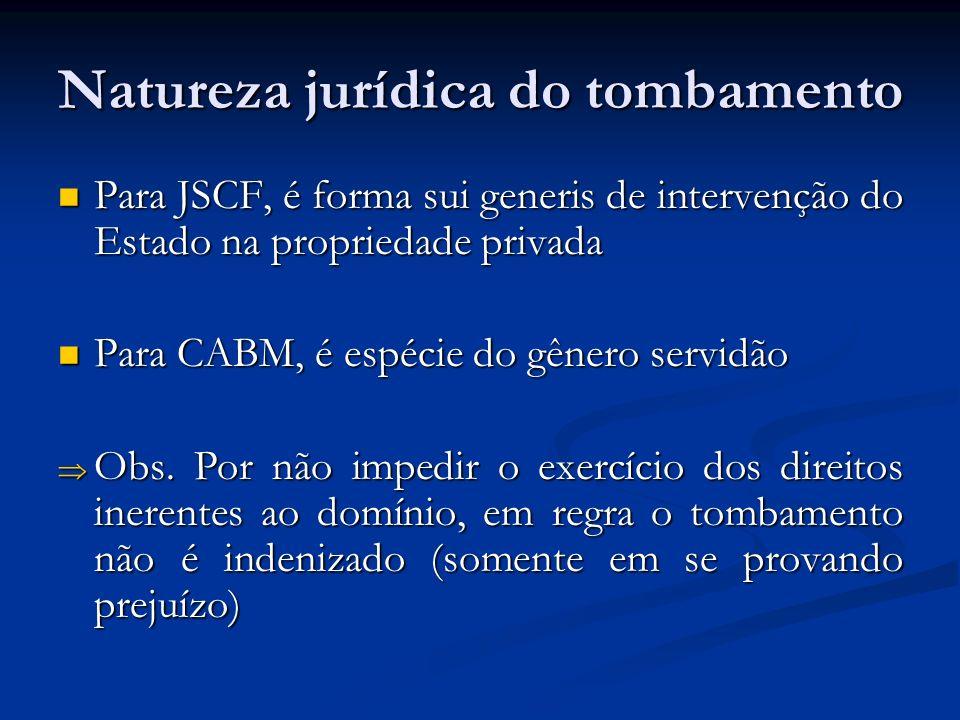 Natureza jurídica do tombamento Para JSCF, é forma sui generis de intervenção do Estado na propriedade privada Para JSCF, é forma sui generis de inter
