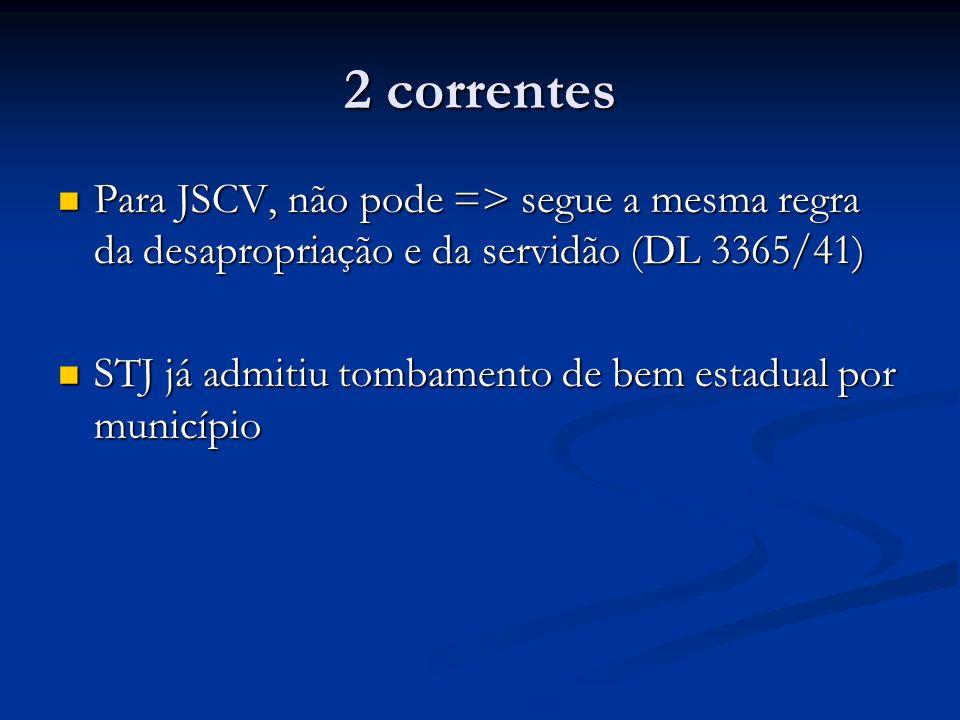 2 correntes Para JSCV, não pode => segue a mesma regra da desapropriação e da servidão (DL 3365/41) Para JSCV, não pode => segue a mesma regra da desa