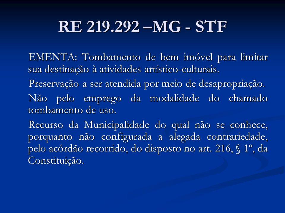 RE 219.292 –MG - STF EMENTA: Tombamento de bem imóvel para limitar sua destinação à atividades artístico-culturais. Preservação a ser atendida por mei
