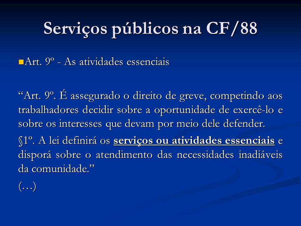 Serviços públicos na CF/88 Art.25. (…) Art. 25.