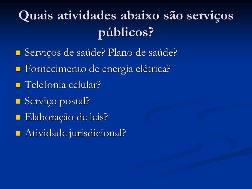Quais atividades abaixo são serviços públicos? Serviços de saúde? Plano de saúde? Serviços de saúde? Plano de saúde? Fornecimento de energia elétrica?