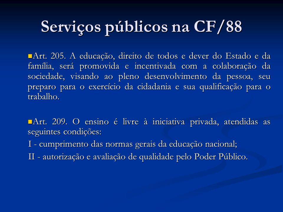Serviços públicos na CF/88 Saúde Saúde Art.197.