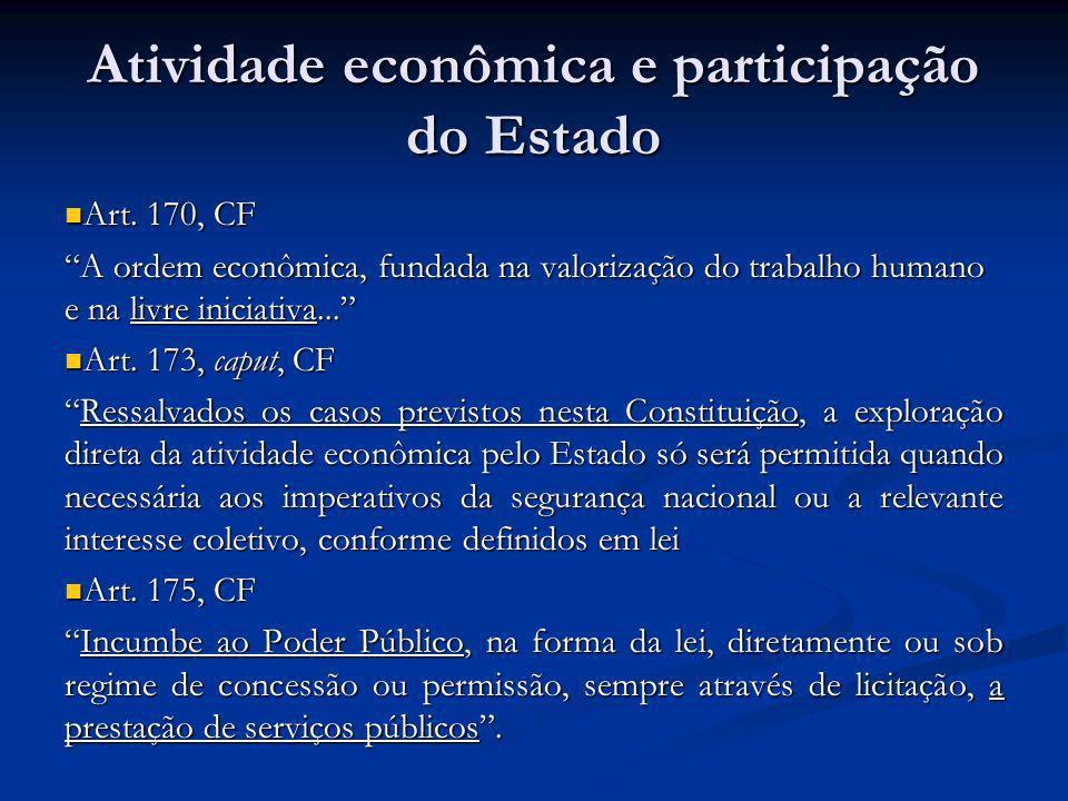Atividade econômica e participação do Estado Art. 170, CF Art. 170, CF A ordem econômica, fundada na valorização do trabalho humano e na livre iniciat