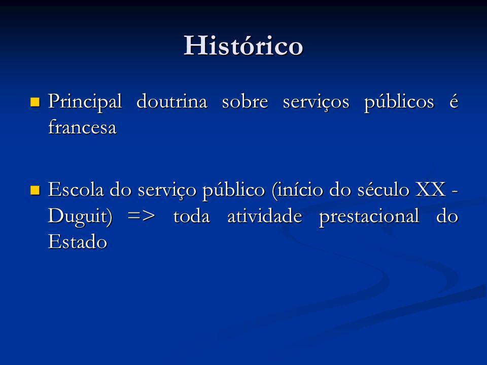 Histórico Principal doutrina sobre serviços públicos é francesa Principal doutrina sobre serviços públicos é francesa Escola do serviço público (iníci