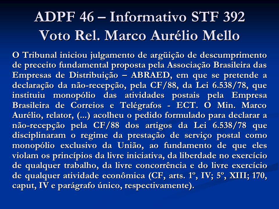 ADPF 46 – Informativo STF 392 Voto Rel. Marco Aurélio Mello O Tribunal iniciou julgamento de argüição de descumprimento de preceito fundamental propos