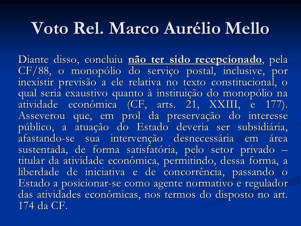 Voto Rel. Marco Aurélio Mello Diante disso, concluiu não ter sido recepcionado, pela CF/88, o monopólio do serviço postal, inclusive, por inexistir pr