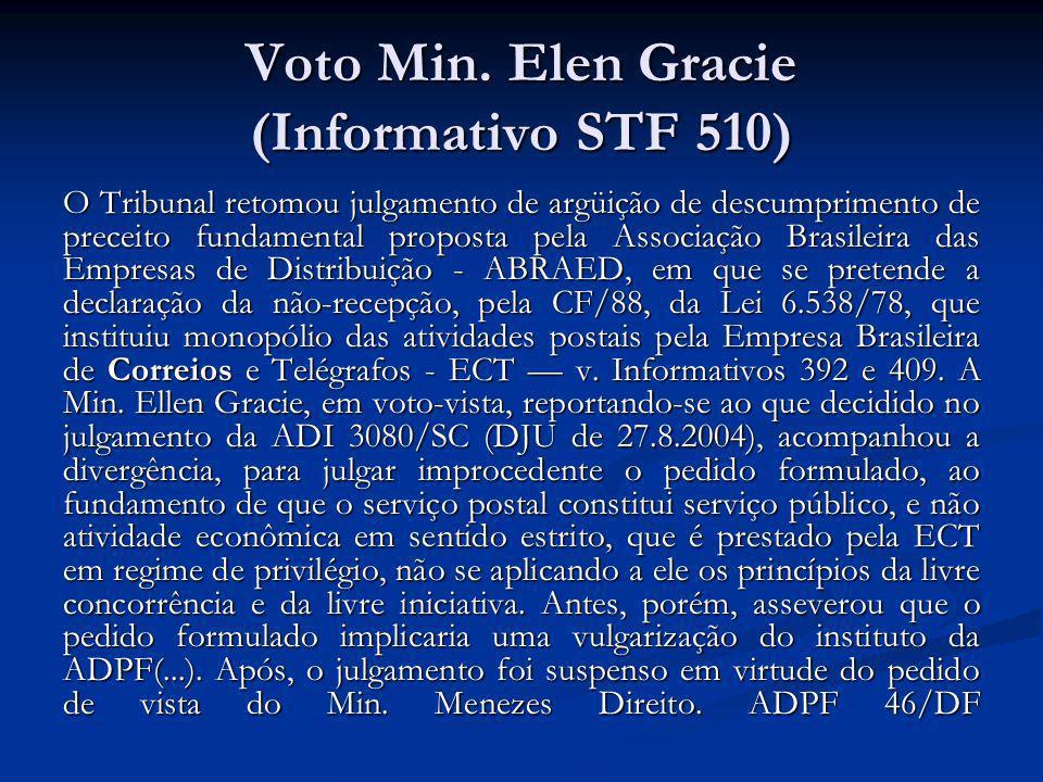 Voto Min. Elen Gracie (Informativo STF 510) O Tribunal retomou julgamento de argüição de descumprimento de preceito fundamental proposta pela Associaç